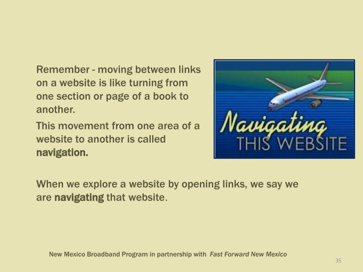 Remember - moving between links on a website is like turning from one section or page of a book to another.
