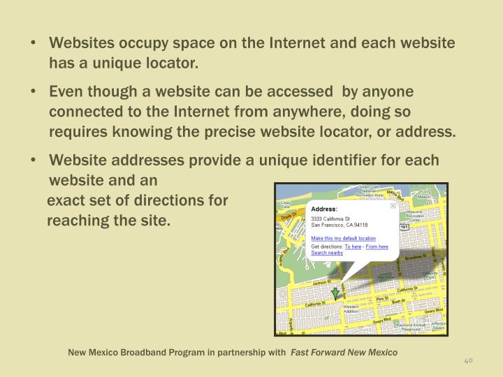 Websites occupy space on the Internet and each website has a unique locator.