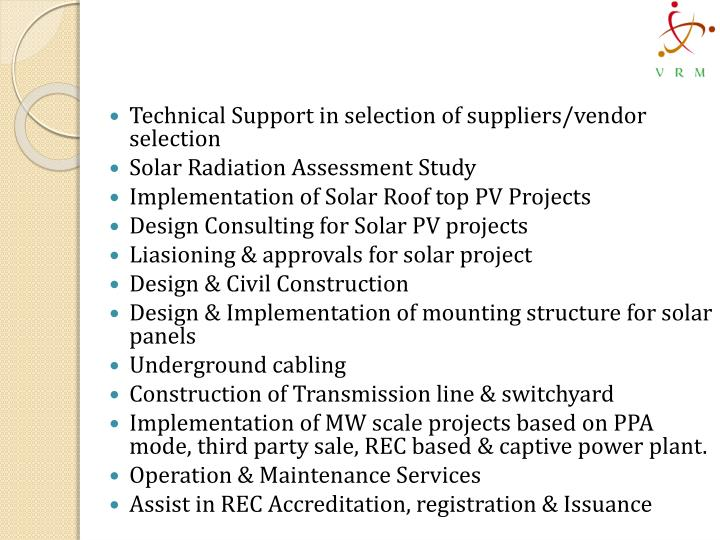 Technical Support in selection of suppliers/vendor selection