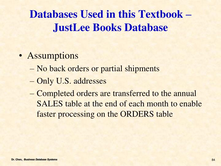 Databases Used in this Textbook – JustLee Books Database