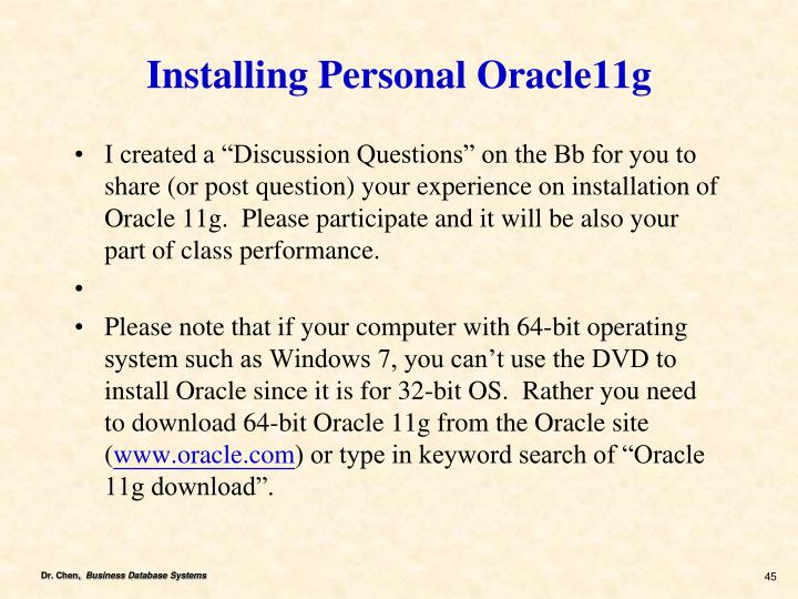 Installing Personal Oracle11g