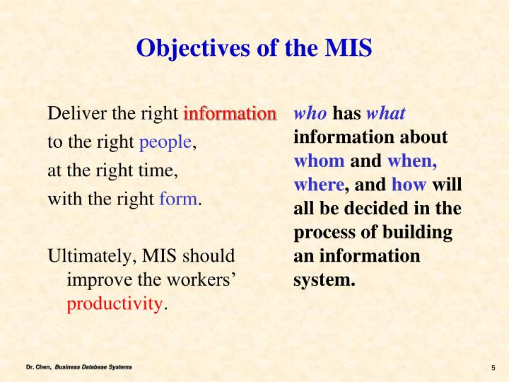 Objectives of the MIS