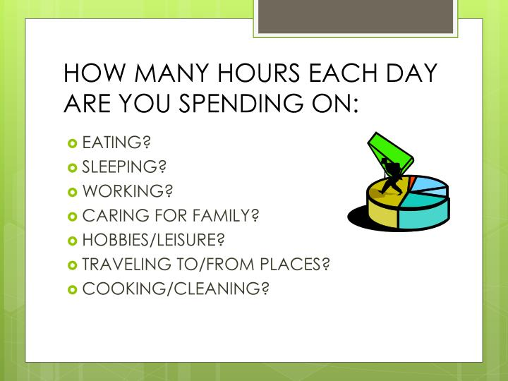HOW MANY HOURS EACH DAY ARE YOU SPENDING ON: