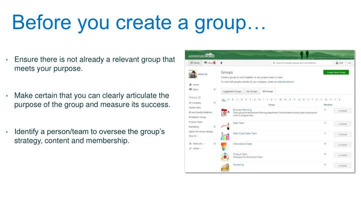 Before you create a group…