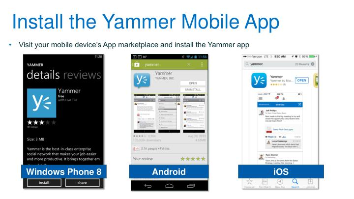 Install the Yammer Mobile App