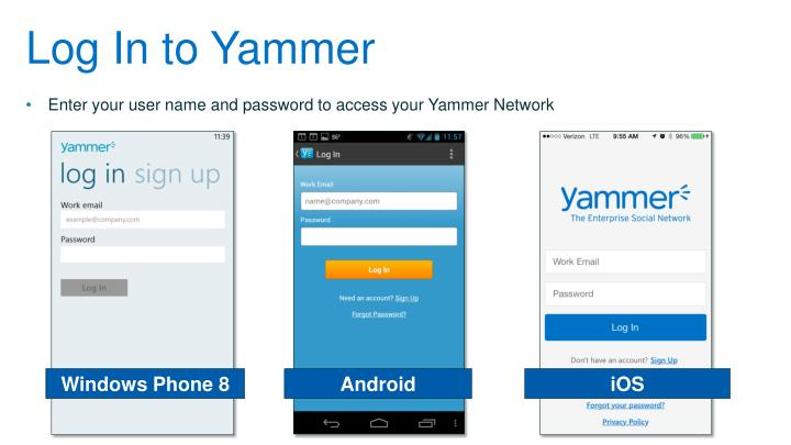 Log In to Yammer