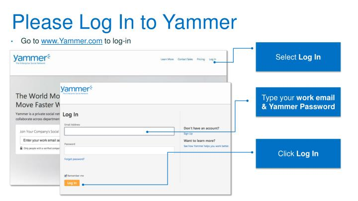 Please Log In to Yammer