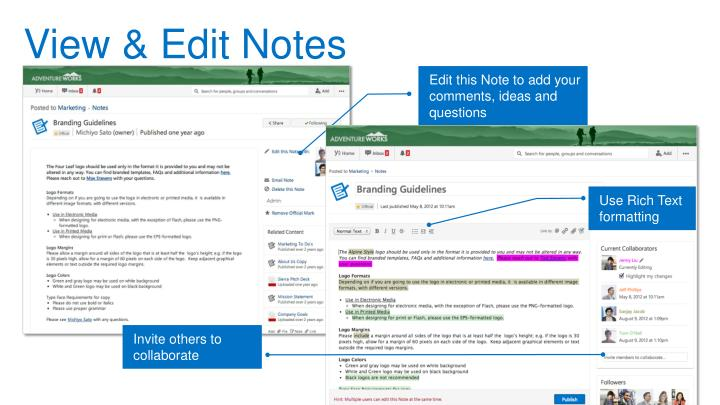 View & Edit Notes