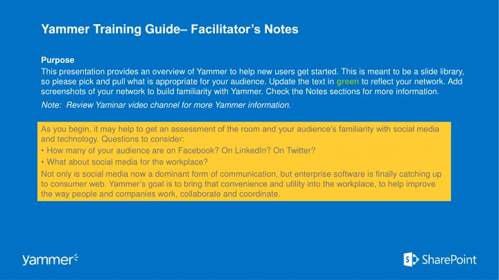 Yammer training guide facilitator s notes