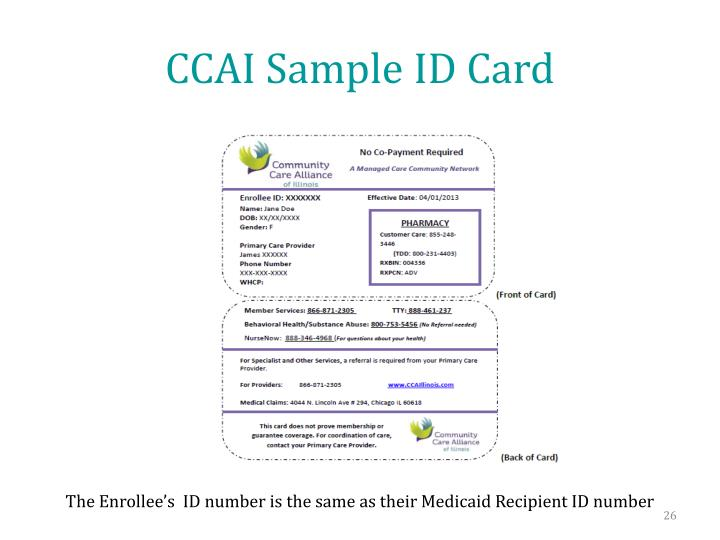 CCAI Sample ID Card