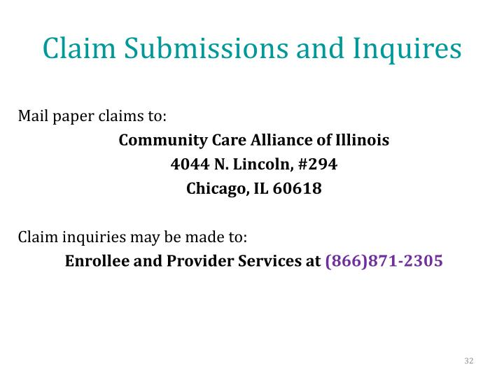 Claim Submissions and Inquires