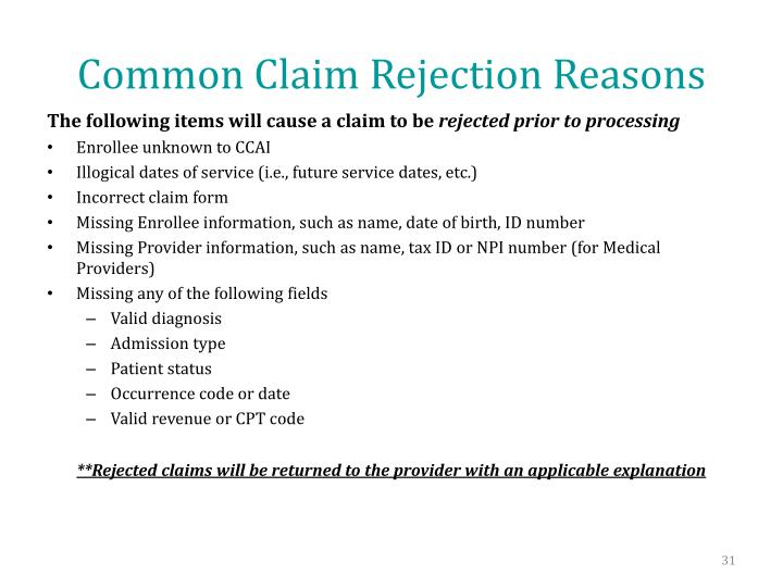 Common Claim Rejection Reasons