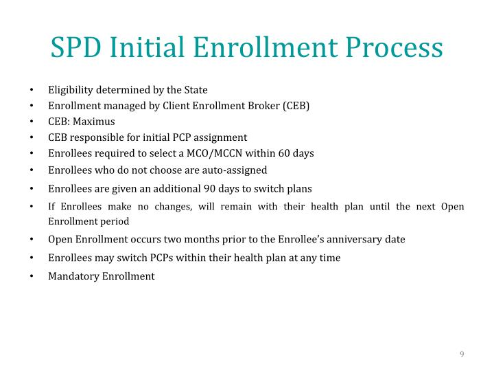 SPD Initial Enrollment Process