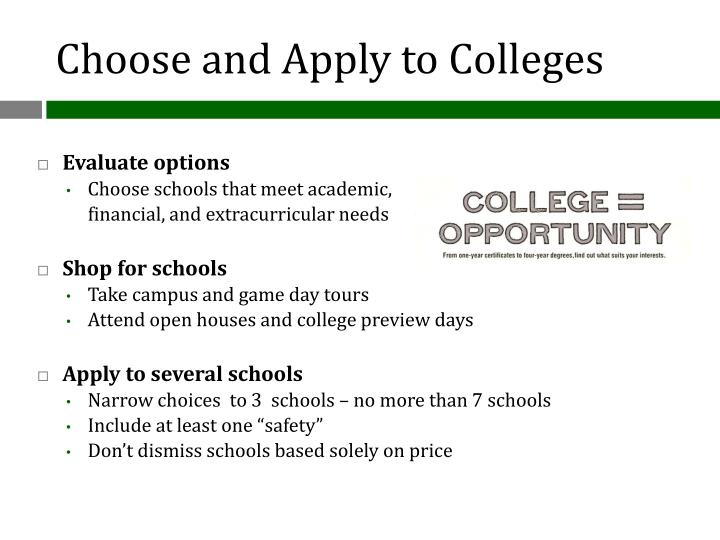 Choose and Apply to Colleges