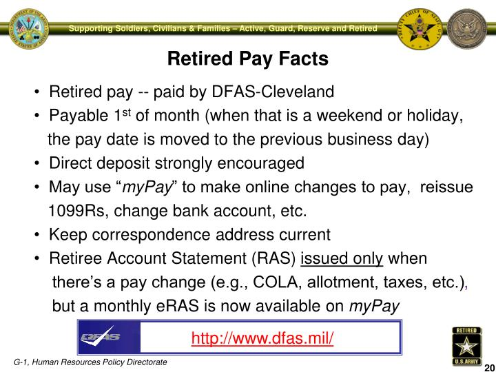 Retired pay -- paid by DFAS-Cleveland