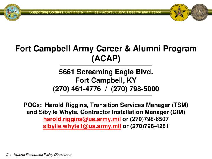 Fort Campbell Army Career & Alumni Program (ACAP)
