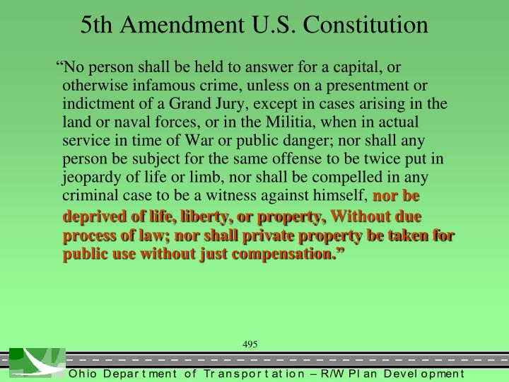 5th Amendment U.S. Constitution