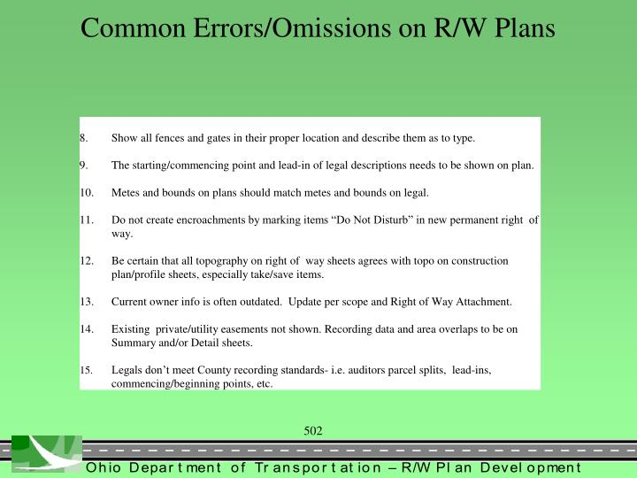 Common Errors/Omissions on R/W Plans