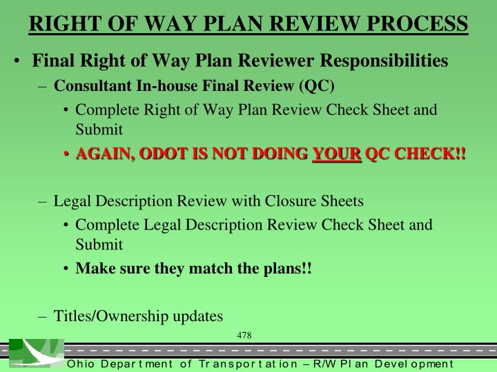 RIGHT OF WAY PLAN REVIEW PROCESS