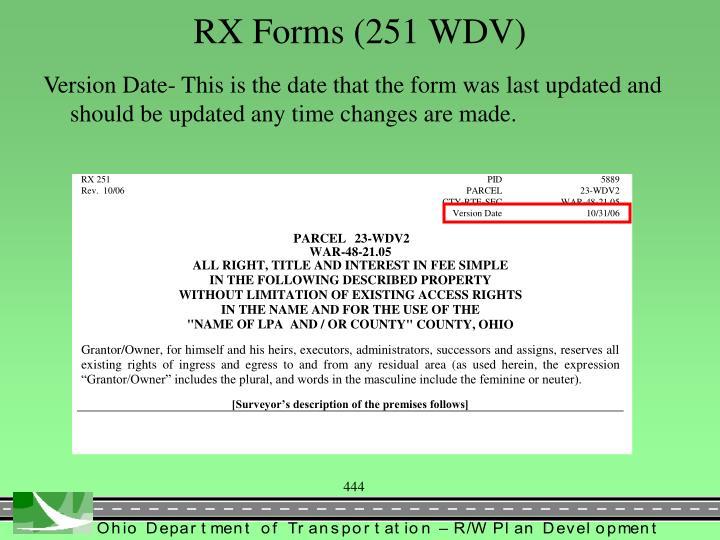 RX Forms (251 WDV)