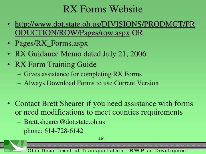 RX Forms Website