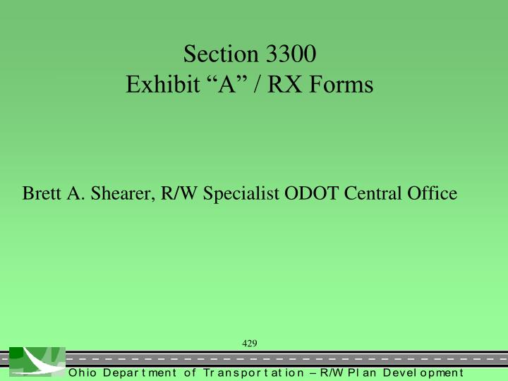 Section 3300 exhibit a rx forms