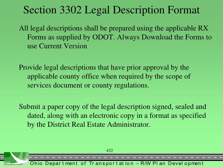 Section 3302 Legal Description Format