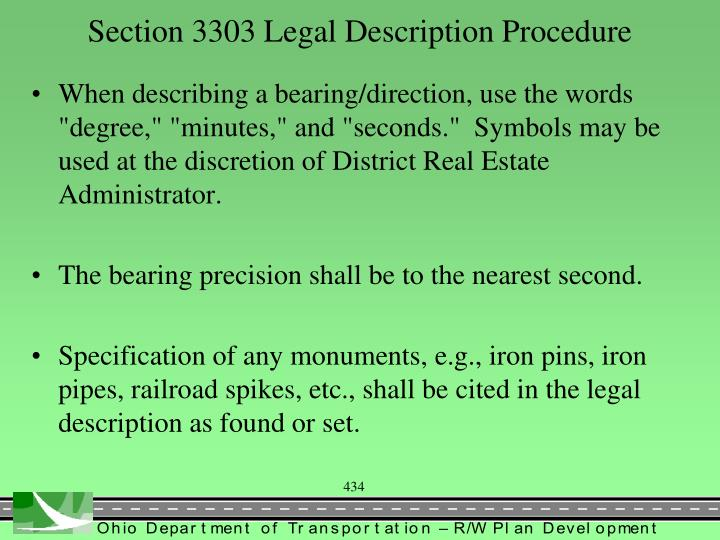 Section 3303 Legal Description Procedure