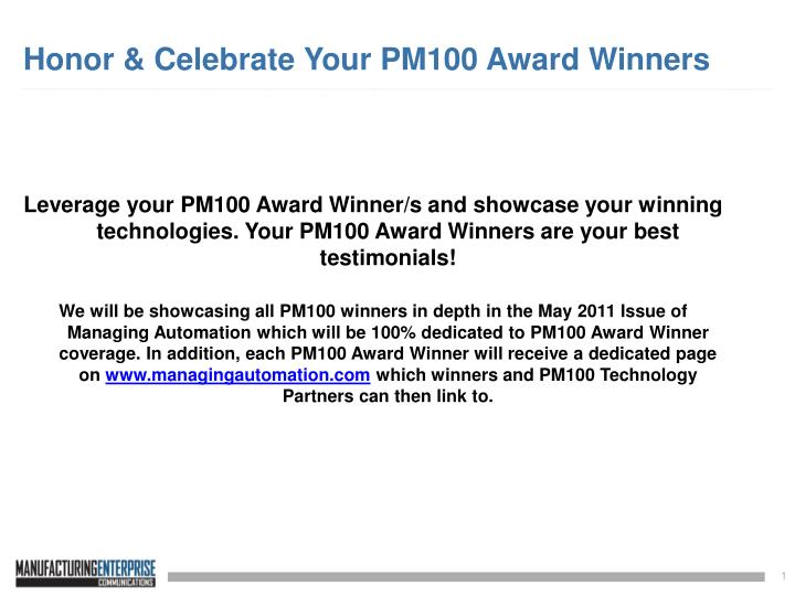 Honor celebrate your pm100 award winners