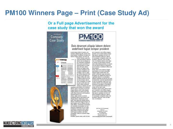 PM100 Winners Page – Print (Case Study Ad)