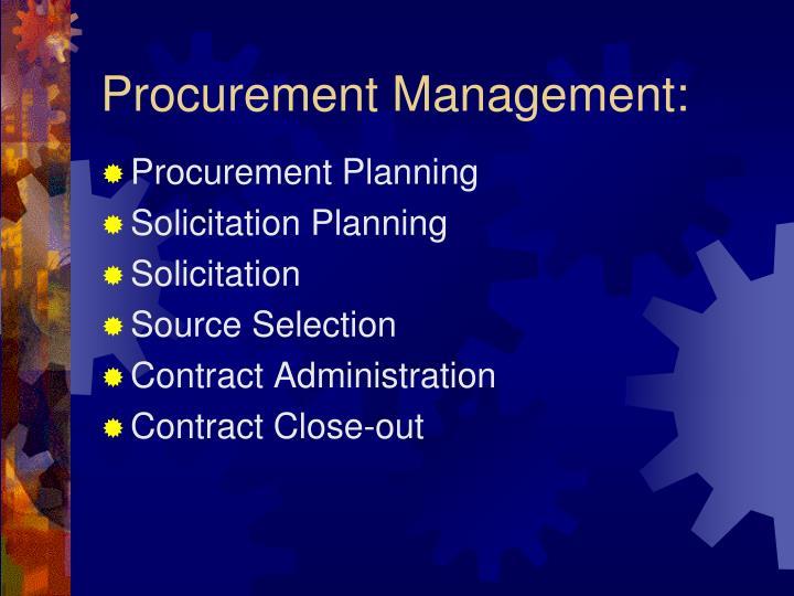Procurement Management: