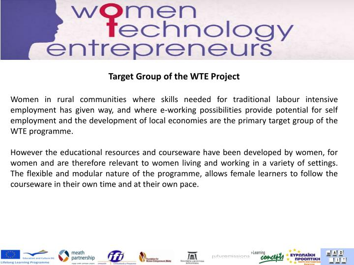 Target Group of the WTE Project