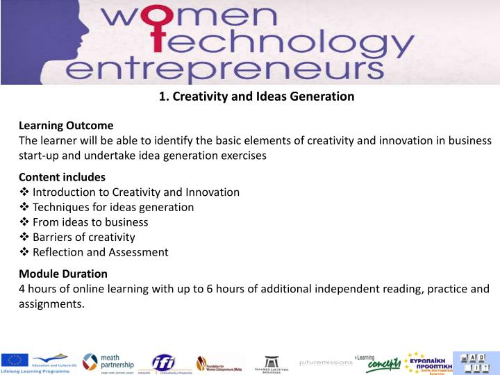 1. Creativity and Ideas Generation