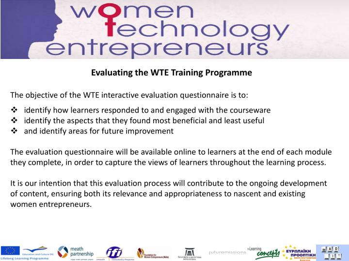 Evaluating the WTE Training Programme