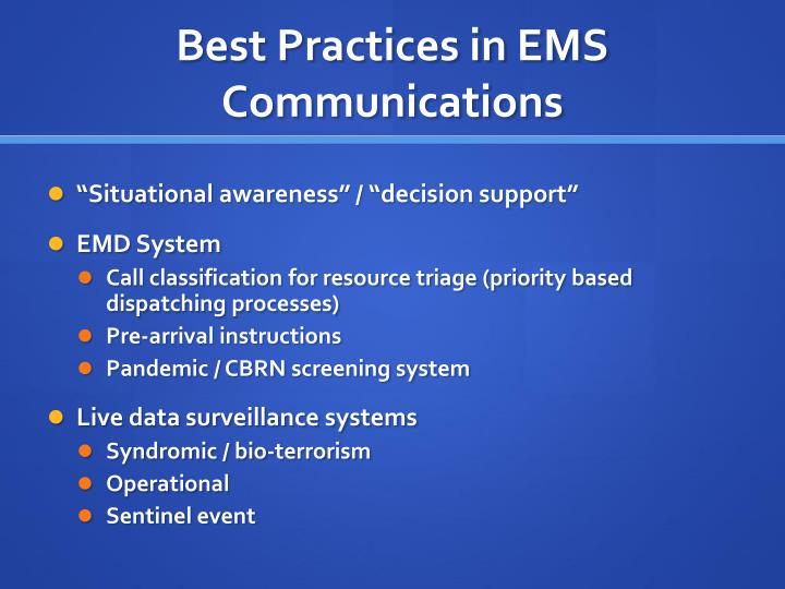 Best Practices in EMS Communications