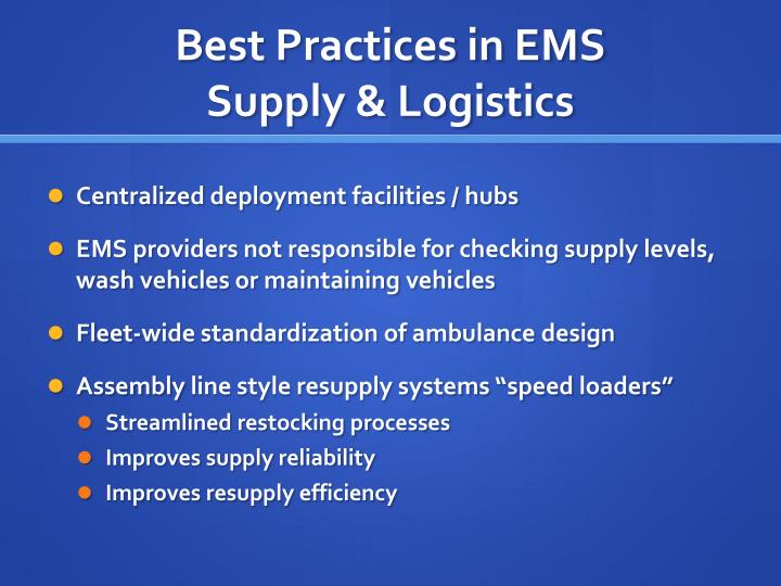 Best Practices in EMS