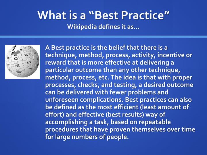 "What is a ""Best Practice"""