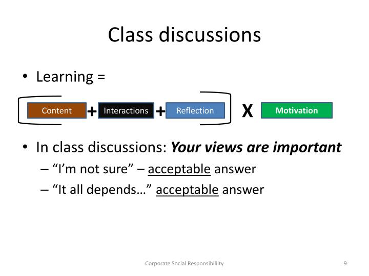 Class discussions