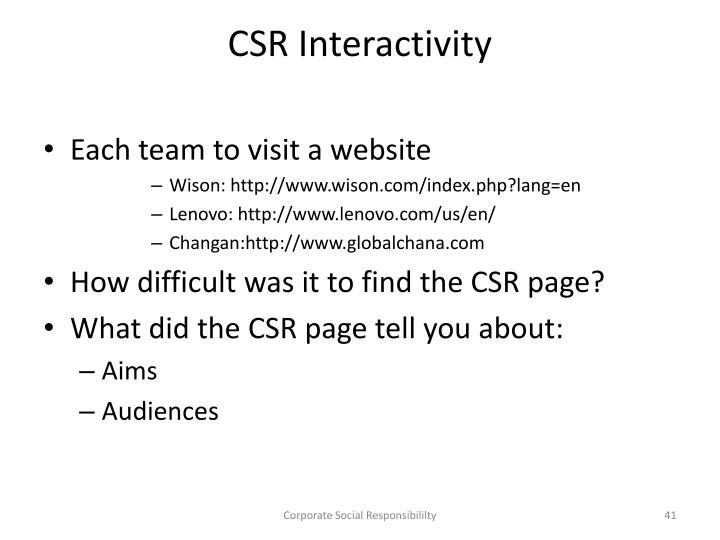 CSR Interactivity