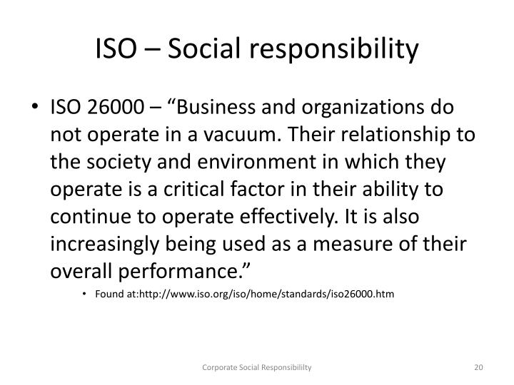 ISO – Social responsibility