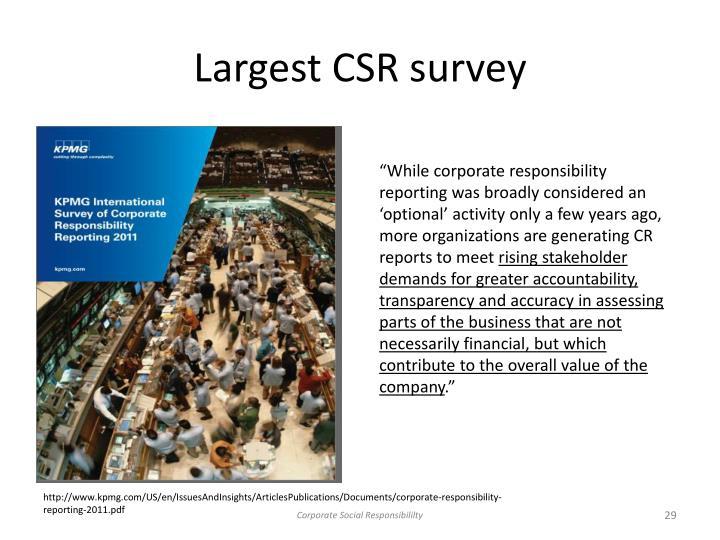 Largest CSR survey
