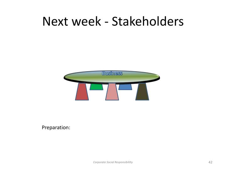 Next week - Stakeholders
