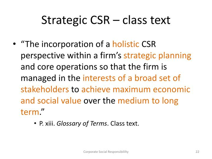 Strategic CSR – class text