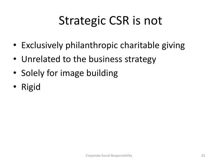 Strategic CSR is not