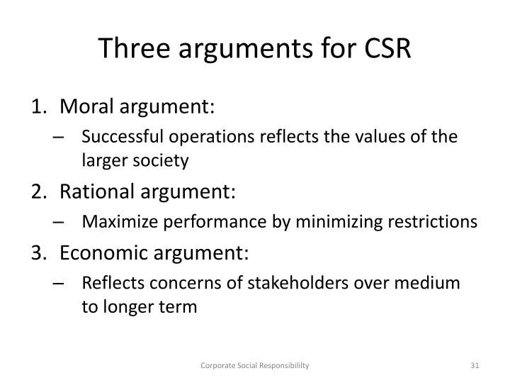 Three arguments for CSR