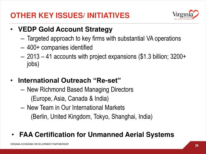 Other key issues/ initiatives