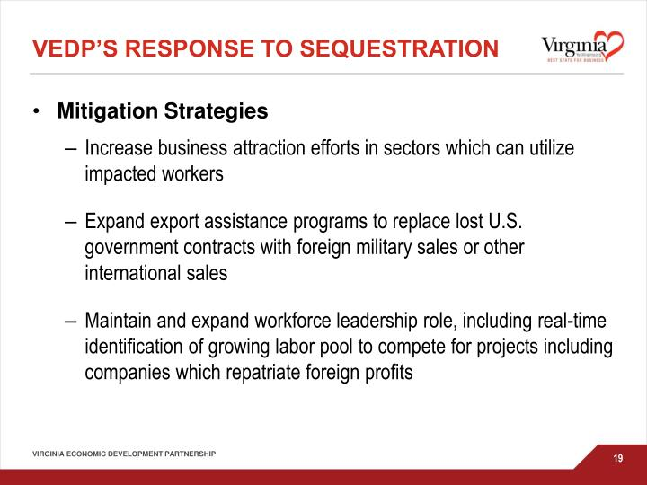 VEDP's Response to sequestration