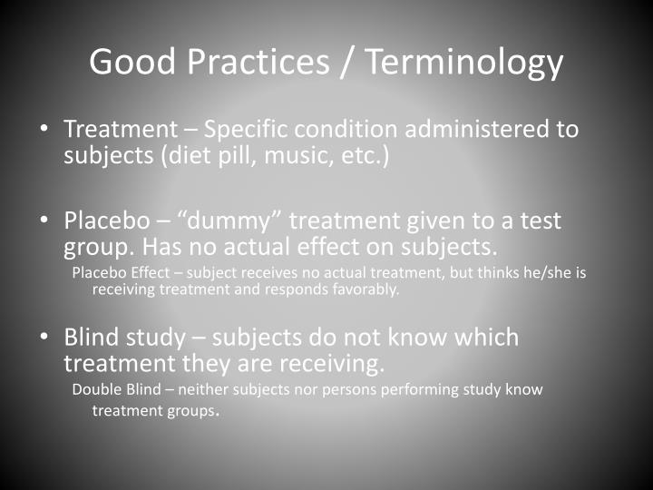 Good Practices / Terminology