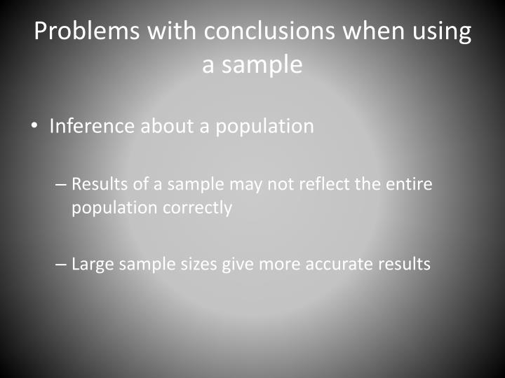 Problems with conclusions when using a sample