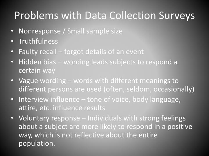 Problems with Data Collection Surveys